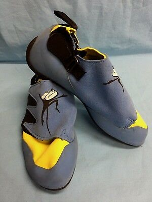 Mad Rock Science Friction Blue Yellow Kid's Climbing Shoes Size 4 Velcro & Strap