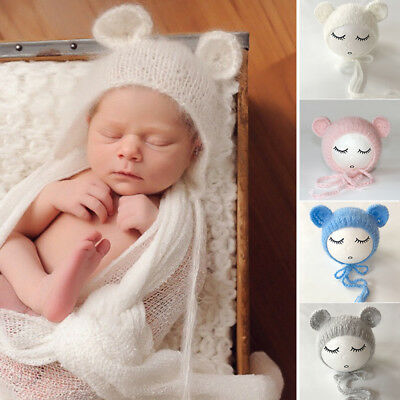 Newborn Baby Girls Boys Knit Crochet Bear Hat Cap Photo Photography Props Outfit