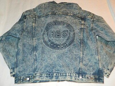 Vintage 1980's HBO Home Box Office stonewashed XL jean denim jacket by Tyca