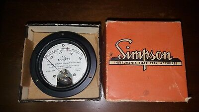 Simpson Electric Round Style Analog Panel Meter MODEL 55R NOS COOL 4 Steampunk!
