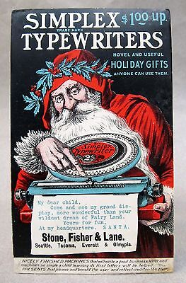 old Santa Claus toy SIMPLEX TYPEWRITERS advertising postcard SEATTLE Christmas *
