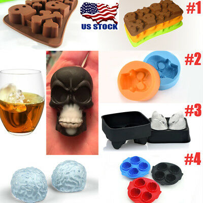 3D Skull Whiskey Mold Halloween Party Silicone Mould Ice Cube Ball Maker Tray US