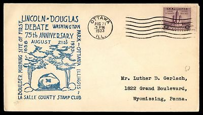 Mayfairstamps US FDC 1933 OTTAWA IL AUG 21 1933 LINCOLN AND DOUGLAS DEBATE 75TH
