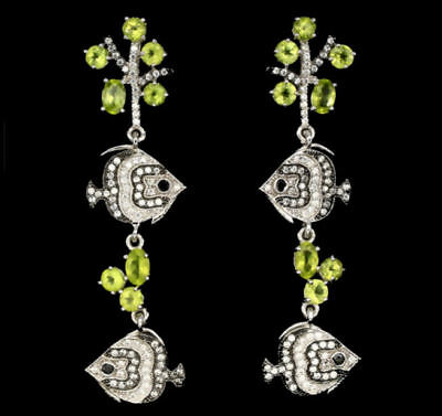 Chandeliers Fishes with korallenästen, Peridot, White Gold from