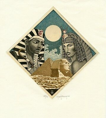 Sphinx, Pharaoh, Ancient Egypt, Pyramid, Ex libris by Paolo Rovegno, Italy
