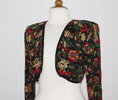 Jasdee Vinatge Bolero Jacket Hand Work Beaded & Hand Print On Silk Style 5038