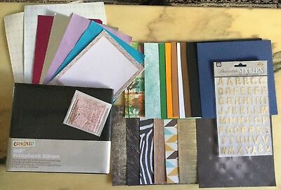 8x8 Scrapbooking Kit w/Black Album,25x Assorted Sheets & Pink Embellishment Pack