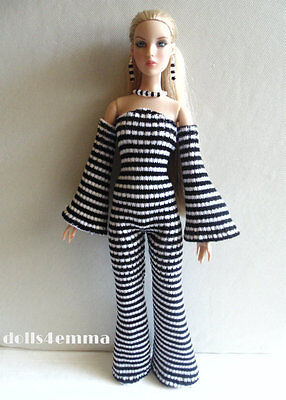 ANTOINETTE and CAMI DOLL CLOTHES Handmade JUMPSUIT & JEWELRY SET Fashion NO DOLL