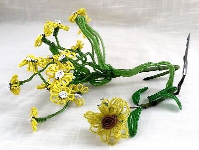 Vintage Hand Beaded Yellow Flowers & Stems - Tiny Glass Beads