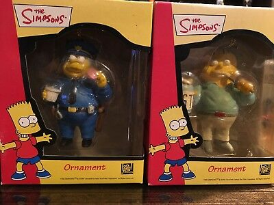 Simpsons Chief Wiggum and Ralph Holiday Ornaments Artie Cielo 2001 NIB