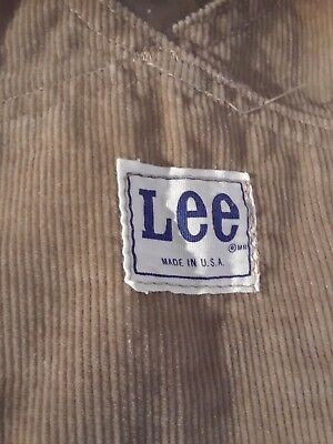 """Authentic Lee Corduroy Overalls (Made In Usa) Size Waist 34"""" X Inseam 34"""""""