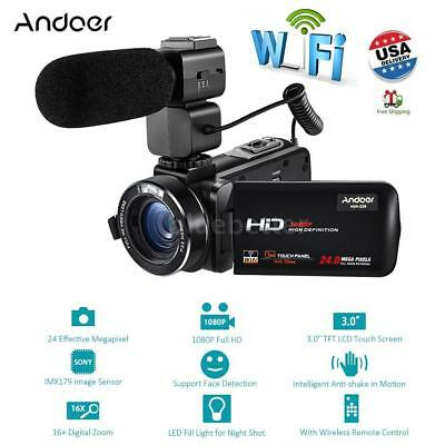 "WiFi FULL HD 1080P 24MP 16X ZOOM LED 3"" LCD Digital Video Camera Camcorder & Mic"