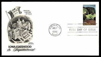 Mayfairstamps US FDC 1996 IOWA SESQUICENTENNIAL ARTCRAFT CACHET  UNSEALED