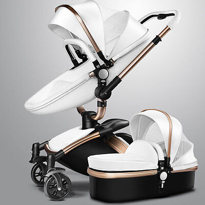 Luxury Baby Stroller 2 in 1 Leather Carriage Travel Car Foldable Pram 3 Colors