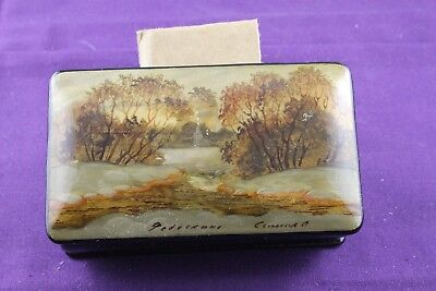 Vintage Russian Black Lacquer Paper Mache Snuff Box Signed, 2 Mother Pearl Inlay