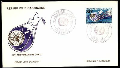 Mayfairstamps GABON 1970 25TH ANNIVERSARY DE L ONU 30F ISSUE FDC UNSEALED