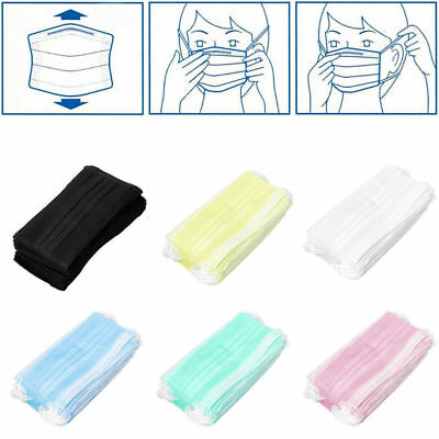 50x 3-Ply Anti-Dust Earloop Disposable Surgical Medical Salon Face Mouth Masks