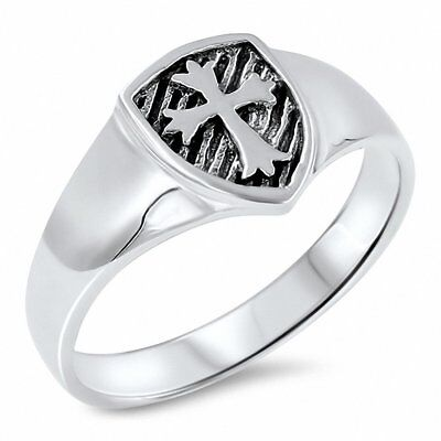Medieval Cross Band Ring 925 Sterling Silver