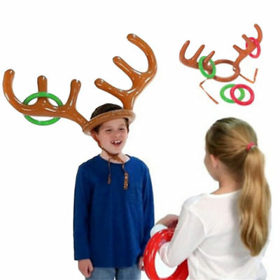 Inflatable Reindeer Hat Ring Toss Antler Game Christmas Family Funny Kids Party