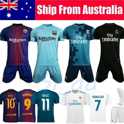 2017-2018 Kid Boy Football Jersey Shirt Soccer Short Sleeve Kit 3-14Y Old+Socks