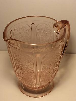 Jeanette pink depression glass cherry blossom water pitcher