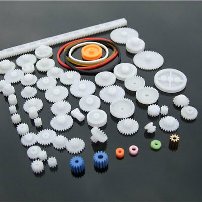 60 pcs lot Plastic Gear Set DIY Rack Pulley Belt Worm Single Double Gear