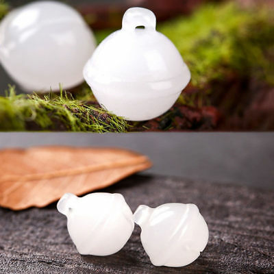 Natural XinJiang White Jadestone Craft Bell Pendant DIY Ornaments Accessories