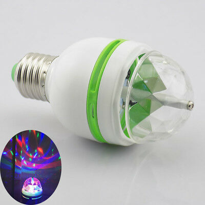 E27 LED Mini Stage Disco DJ Light party Ball Bulbs Auto Rotating RGB Lamp base