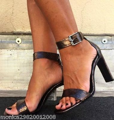 9f0c3009e9d ZARA LEATHER HIGH Heel Ankle Strap Sandals Shoes Size Eur 36