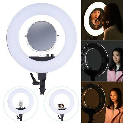 "18"" 50W 5500K+Mirror+Holder+Bag LED Video Ring Camera Light Fill-in Lamp US NEW"