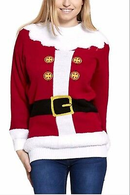 New Womens Father Christmas Santa Claus Novelty Knitted Jumper Sweater Top 8-22