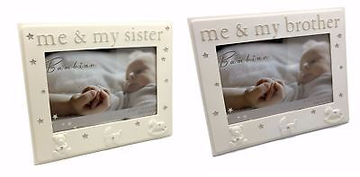 "Bambino Me & My Brother Photo Frame, Me & My Sister Photo Frame 6""x 4"" Baby Gift"