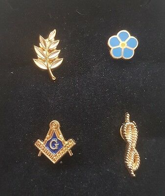 Masonic Lapel Pin Square & Compass Sprig of Acacia Cable Tow Forget Me Not Set