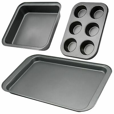 3 Large Roasting Roaster Oven Tin Trays With Rack Baking Cooking Grill  Xmas