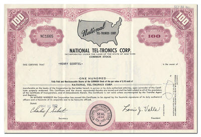 National Tel-Tronics Corp. Stock Certificate (Speaker Cabinets, Electronics)
