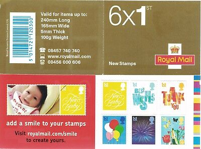 QA3 2006 Containing - 6 x 1st Class Small Format  Smilers Stamps - Booklet