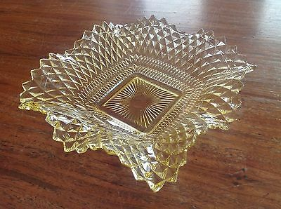 Vintage Amber Indiana Glass Ruffled Diamond Point Fluted Candy Nut Dish
