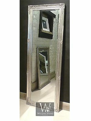 "Paris Silver Shabby Chic Full Length Antique Dress Mirror 59"" x 21"" V Large"