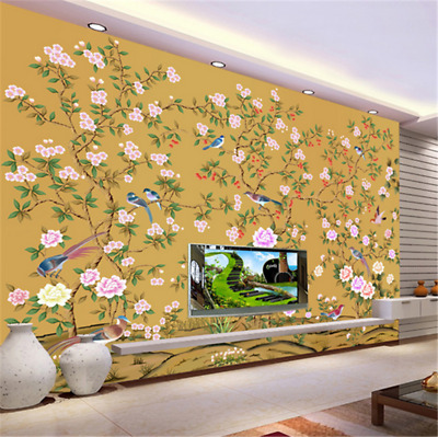 3D FLOWERS LEAVES Bird 799 Wallpaper Mural Paper Wall Print ...