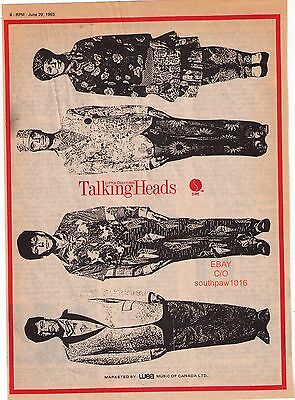 """1985 Talking Heads """"Little Creatures"""" Vintage Trade Print Ad"""