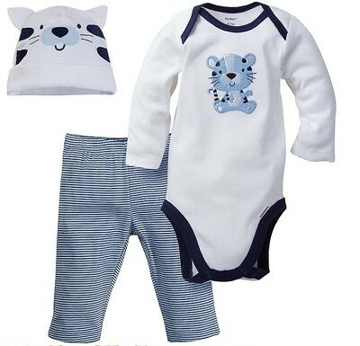 GERBER BABY BOYS 3-Piece Essentials Set Onesie, Pants & Cap Baby Shower Gift NWT