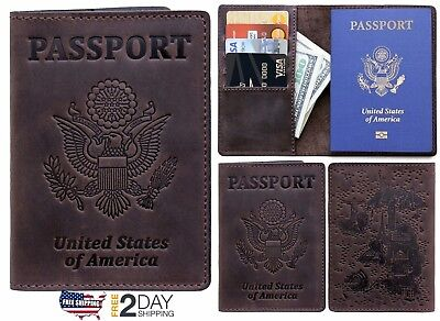 Rachiba Leather Passport Holder Travel Wallet Cover Case for Men Women New USA