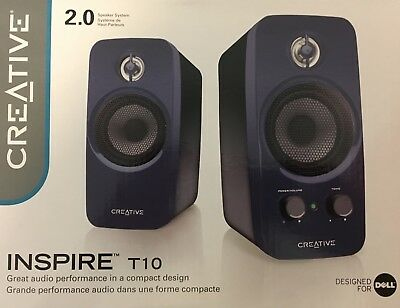 Creative Inspire T10 2.0 Multimedia Speaker System with BasXPort Tech (Blue)