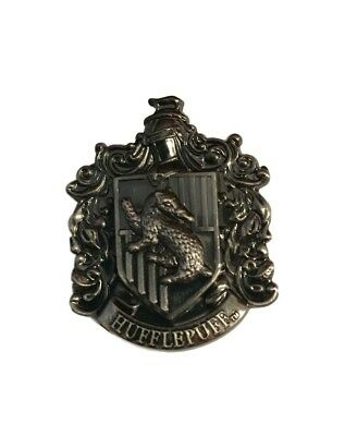 Harry Potter Hufflepuff Crest Pewter Metal Lapel Pin w/ Loop to Use as Necklace