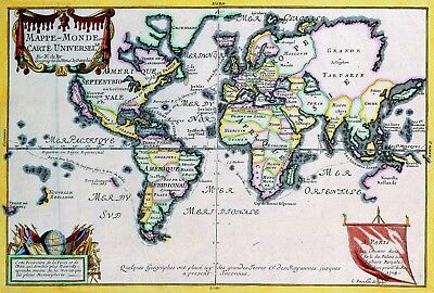 1724 World Map Antique Vintage Reproduction Old Style Poster Print, 13x19