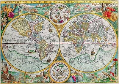 1594 World Map Antique Vintage Reproduction Old Style Poster Print, 13x19