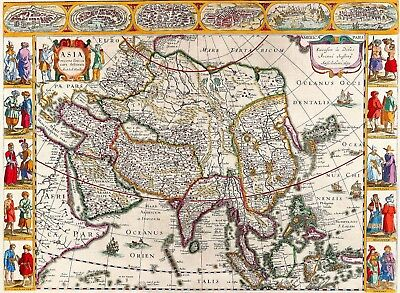 1632 Asia World Map Antique Vintage Reproduction Old Style Poster Print, 13x19