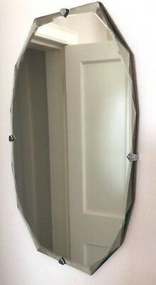 vintage art deco shaped bevelled edge frameless wall hanging mirror excellent