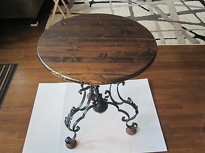ANTIQUE WOOD TABLE TOP WITH IRON BASE,one of a kind