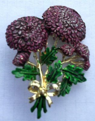 Vintage Signed Enamel Exquisite Chrysanthemum Brooch Birthday Month Series